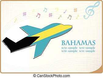 plane icon made from the flag of Bahamas