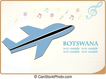 plane icon made from the flag of Botswana