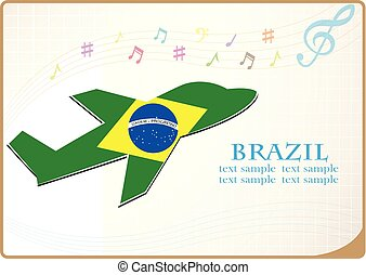 plane icon made from the flag of brazil