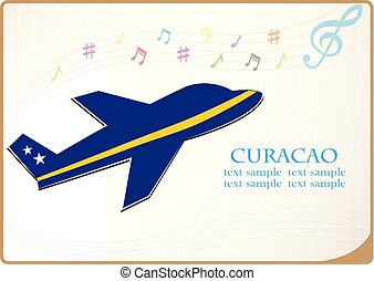 plane icon made from the flag of Curacao