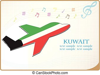 plane icon made from the flag of Kuwait
