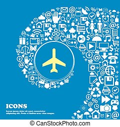 Plane icon . Nice set of beautiful icons twisted spiral into the center of one large icon. Vector