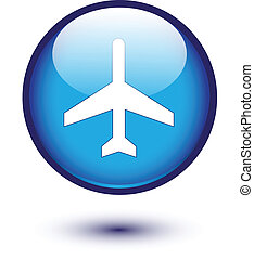 Plane icon on blue