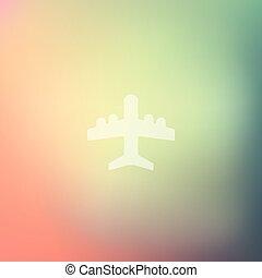 plane icon on blurred background