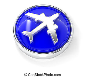 Plane icon on glossy blue round button