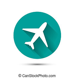 Plane icon on green background with shadow