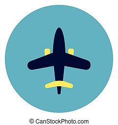 Plane Icon On Round Blue Background