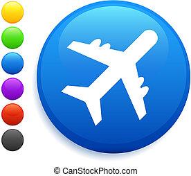 plane icon on round internet button