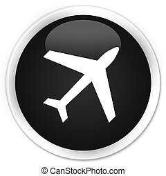 Plane icon premium black round button