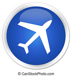 Plane icon premium blue round button