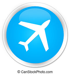 Plane icon premium cyan blue round button