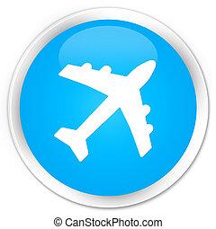 Plane icon premium cyan blue round button