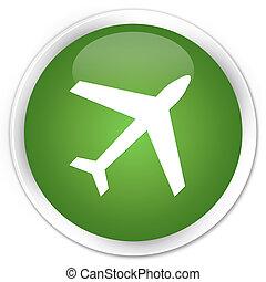 Plane icon premium soft green round button