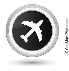 Plane icon prime black round button
