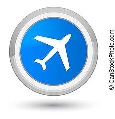 Plane icon prime cyan blue round button