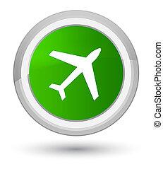 Plane icon prime green round button
