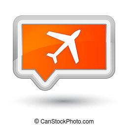 Plane icon prime orange banner button