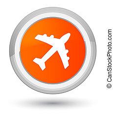 Plane icon prime orange round button
