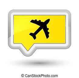 Plane icon prime yellow banner button