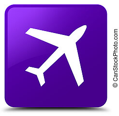 Plane icon purple square button