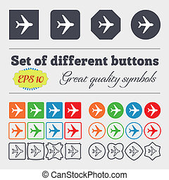 Plane icon sign. Big set of colorful, diverse, high-quality buttons.