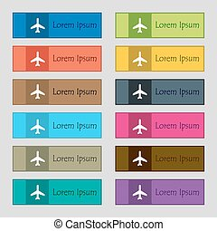 Plane icon sign. Set of twelve rectangular, colorful, beautiful, high-quality buttons for the site. Vector