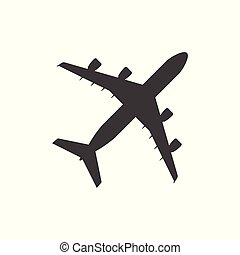 Plane icon - simple flat design isolated on white background, vector