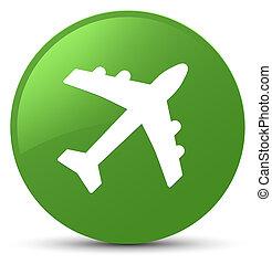 Plane icon soft green round button