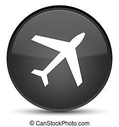 Plane icon special black round button