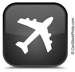 Plane icon special black square button