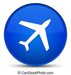 Plane icon special blue round button