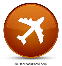 Plane icon special brown round button