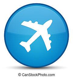 Plane icon special cyan blue round button