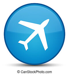 Plane icon special cyan blue round button