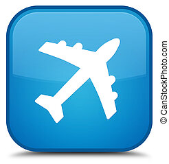 Plane icon special cyan blue square button