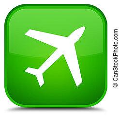 Plane icon special green square button