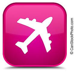 Plane icon special pink square button