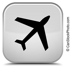 Plane icon special white square button