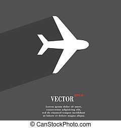Plane icon symbol Flat modern web design with long shadow and space for your text. Vector
