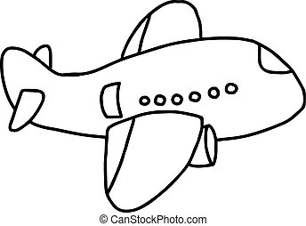 plane icon - vector illustration sketch hand drawn isolated on white background