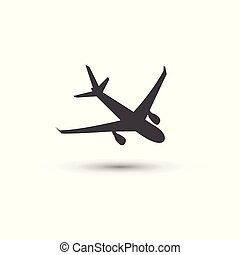 Plane icon vector, pictogram isolated on white