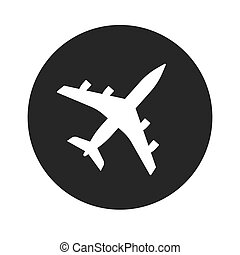 Plane icon vector shape or airplane jet silhouette symbol round black and white monochrome flat airport pictogram isolated on white background