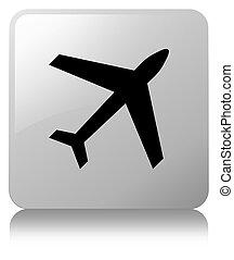 Plane icon white square button