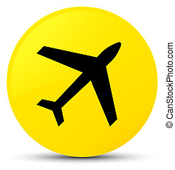 Plane icon yellow round button