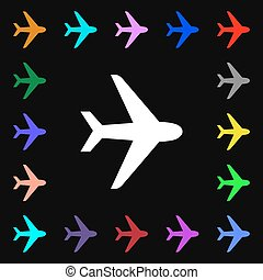 Plane iconi sign. Lots of colorful symbols for your design. Vector