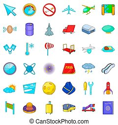 Plane icons set, cartoon style