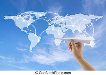 plane in hand with world map on background, Map of flight routes airplanes network use for global travel, import,export,logistics network concept, Elements of this image furnished by NASA