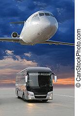 plane in sky bus going in city - plane flying in sky over...
