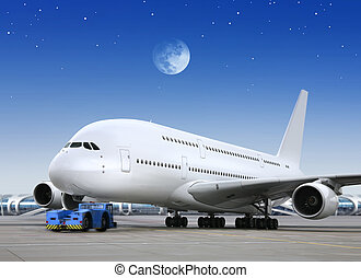 plane in the bright of the moon