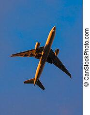 Plane in the evening sun